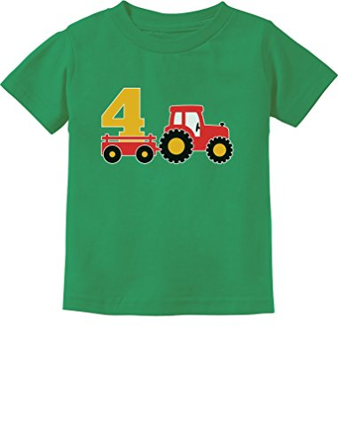 4th Birthday Gift Construction Party 4 Year Old Boy Toddler/Infant Kids T-Shirt 5/6 Green