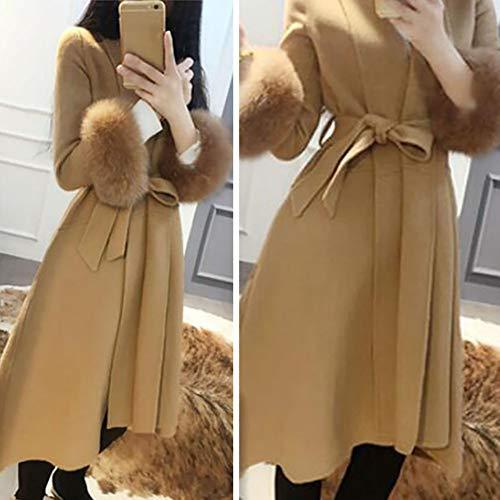 Parka Talla Grande Gabardina Coat Mujer 1pcs Y Camel Para Sólido Color 0wqfX1q6
