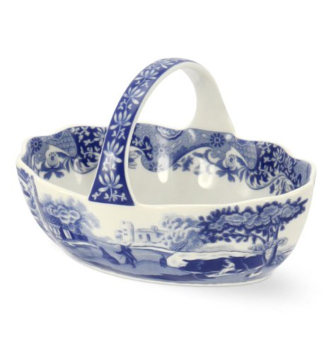 SPODE BLUE ITALIAN Small handled elegant blue and white basket