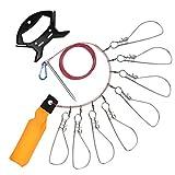 RUNCL Fishing Stringer Clip Stainless Steel, Kayak Fish Stringer, Fish Lock/Holder - Foam Fishing Float Bright Color, 8 Metal Snaps, 2 Mounting Methods (13.5cm)