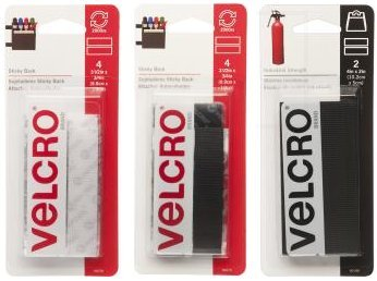 (Velcro Brand Sticky Back Strips - 10 Pack Variety Bundle - 3 Sizes and 2 Colors - 4pk Black & 4pk White (3.5x0.75 inches) + 2pk Industrial Strength (4x12 inches))