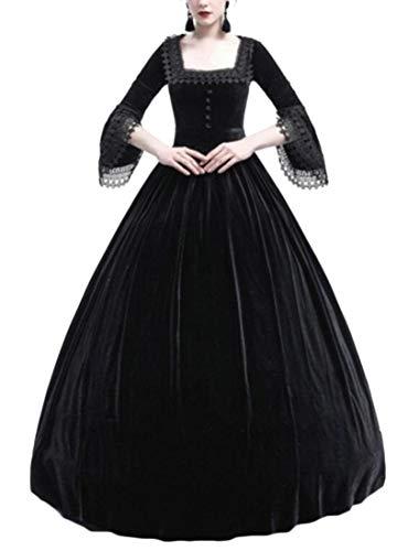 6722d7543519e GenericWomen Royal Queen Victorian Dress Lady Medieval Renaissance Vintage  Gown Dresses Black L