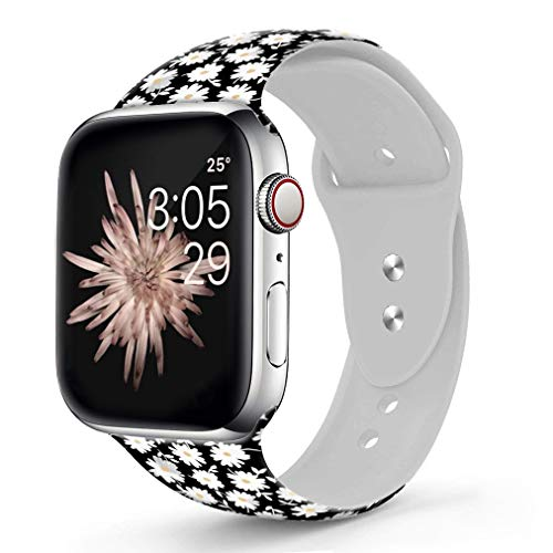 - Viwell Silicone Floral Band Compatible iWatch Band 40mm 38mm 44mm 42mm for Women Men, White Daisies Silicone Strap Sports Replacement for iWatch A pple Watch Series 4 3 2 1