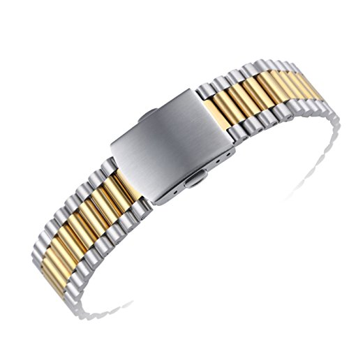 16mm Premium Two Tone Gold Inox Wristwatch Bands for Women's Deluxe Watches 316L Solid Stainless Steel Metal -  AUTULET, OT.TY1.16JJ.ZD