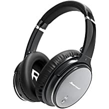 Hiearcool L1 Bluetooth Headphones - Active Noise Cancelling Headphones Over Ear Hi-Fi Stereo Deep Bass Wireless Headphones with Microphone, Airplane Adapter & Carrying Case for All 3.5 mm Jack Devices