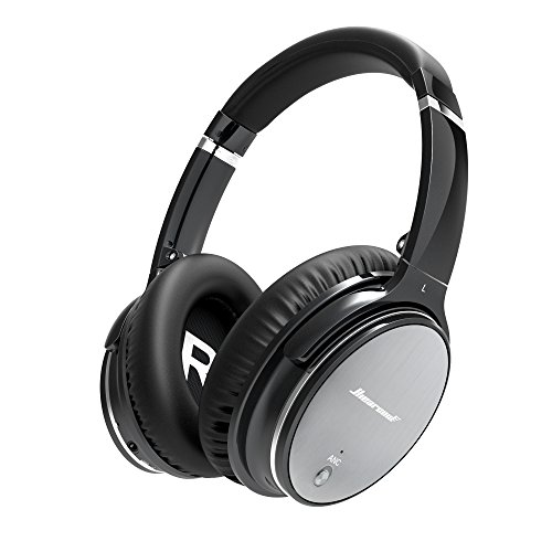 Hiearcool L1 Active Noise Canceling Bluetooth Headphones HiFi Stereo Wireless Over-ear Earphones with Mic and Volume Control for all 3.5mm Jack & Bluetooth Devices - Iron Grey