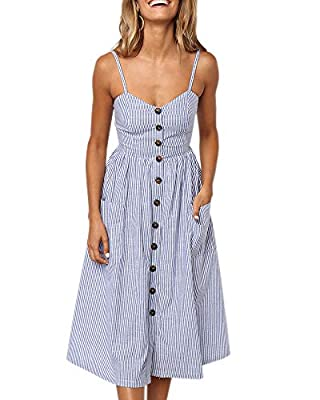 Imysty Womens Summer Spaghetti Strap Button Down Striped Swing Dress with Pockets