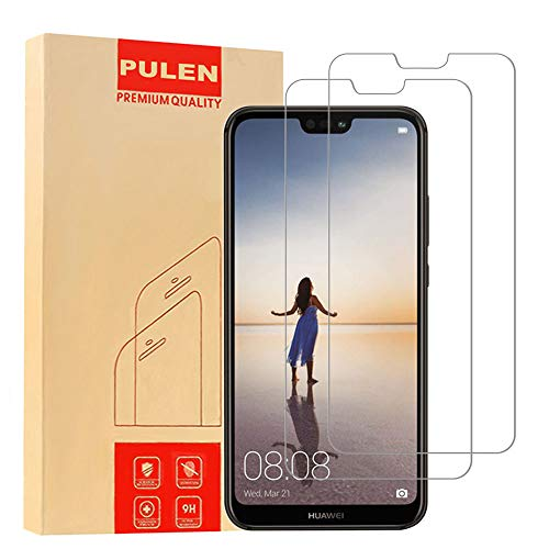 [2-Pack] PULEN Sreen Protector Compatible with Huawei P20 Lite,HD Anti-Scratch Bubble Free Anti-fingerprints 9H Hardness Tempered Glass Film for Huawei P20 Lite