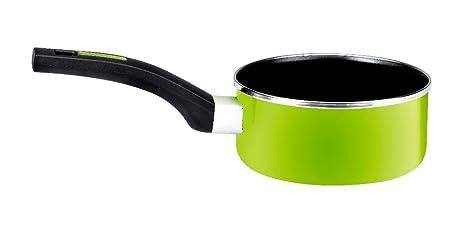 Monix Lima - Cazo 16 cm de acero esmaltado verde con antiadherente Teflon® Classic.