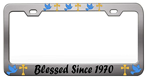 """YEX BLESSED SINCE 1970 Chrome License Plate Frame Car Tag Frame Auto License Plate Holder 12"""" x 6"""""""