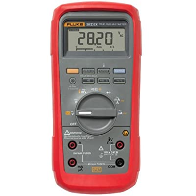 "Fluke 28IIEX/ETL Intrinsically Safe True-Rms Digital Multimeter, LCD Display, -200 to +1090 Degrees C Temperature Range, 7.8"" Length x 3.93"" Width x 2.5"" Height"