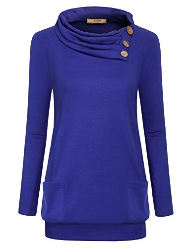 Cowl Neck Sweatshirt Women,Miusey Ladies Raglan Long Sleeve Tshirt Turn Over Neck Tops Banded Bottom Soft and Comfy Tunic Pullover Sweater with Pockets for Autumn Casual Stretchy Workout Shirts Blue L