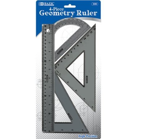 Bazic Products 335-144 BAZIC 4-Piece Geometry Ruler Combination Sets Case of 144