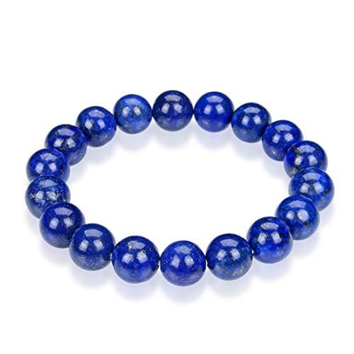 Natural Lapis Lazuli Gemstone Bracelet 7.5 inch Stretchy Chakra Gems Stones Healing Crystal Great Gifts (Unisex) GB10B-20