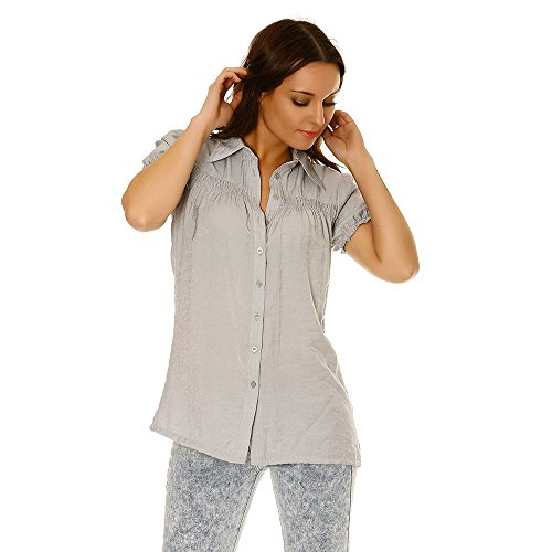 Miss Wear Line - Chemise grise avec les épaules bouffantes