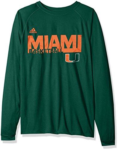 adidas NCAA Miami Hurricanes Mens Sideline Grind Climalite L/S Teesideline Grind Climalite L/S Tee, Dark Green, Large