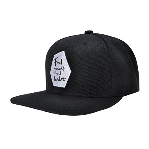ZLYC Mens Womens Cotton Snapback Hat Flat Bill words Embroidered Baseball Cap Adjustbable, Black