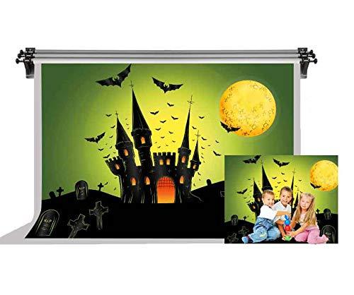 F-FUN SOUL Halloween Party Backdrop Castle Bats Grave All Saints' Day Photography Backdrops Photo Studio Props 7X5ft FSLX022 ()