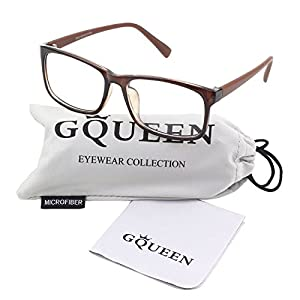 GQUEEN 201512 Casual Fashion Rectangular Frame Clear Lens Eye Glasses,Brown