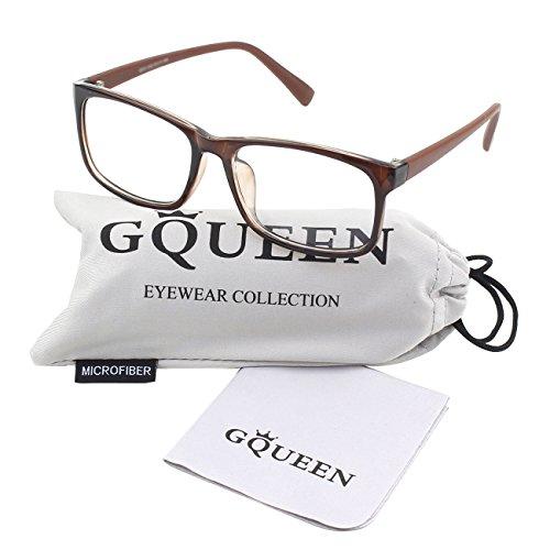 GQUEEN 201512 Casual Fashion Rectangular Frame Clear Lens Eye Glasses,Brown