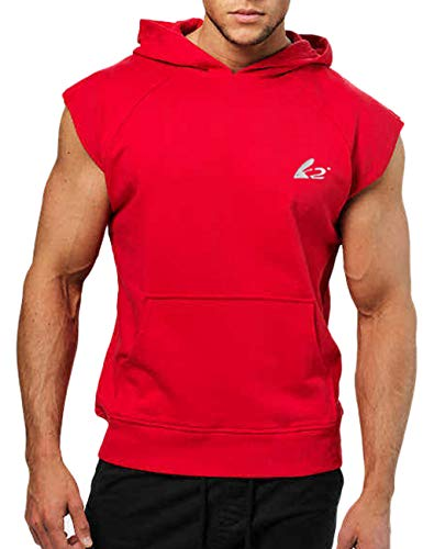 PAIZH Men's Workout Bodybuilder Hoodies Sleeveless Cotton Sweatshirts (Red,L)