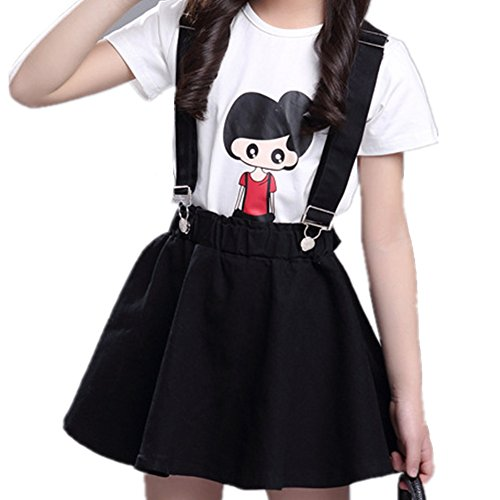 Oushiny Girls' Denim Skirt with Suspenders & T-Shirt 2pcs Set,Black2,7-8