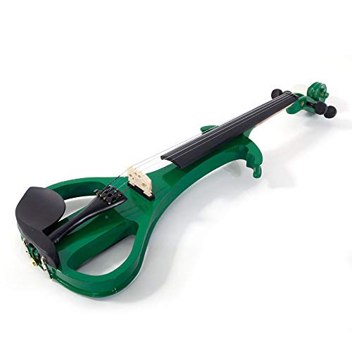 GHP Green & Black Basswood 4/4 Electric Violin with Bow Case Rosin Head Set & Battery by Globe House Products