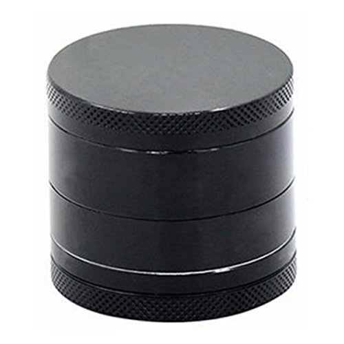 Zelen Kitchen, Cool 4 Piece Black Zinc Alloy Herb (Spice, Tobacco, Cigar, Garden) Grinder, Compact Diamond Teeth, Durable and Useful Easy to Clean, 1.55 in. (40 mm)