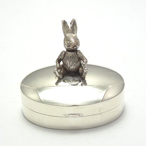 Solid silver925 Trinket box with rabbit on top of lid (Rabbit's head (Newel Ball Top)