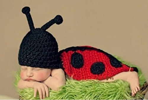 Ladybird Septempunctata Baby Pictures of Handmade Clothes Men and Women Children's Wool Hat Newborn Photography Props