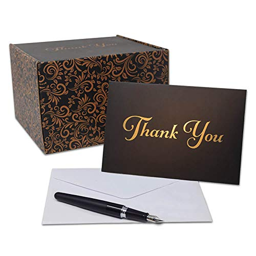 Thank You Cards - 100 Count - Gold Foil Lettering - Perfect for: Weddings, Graduations, Business, Engagements, Bridal Showers, Baptisms - 4x6 Photo Size (Gold Lettering - Black Card)