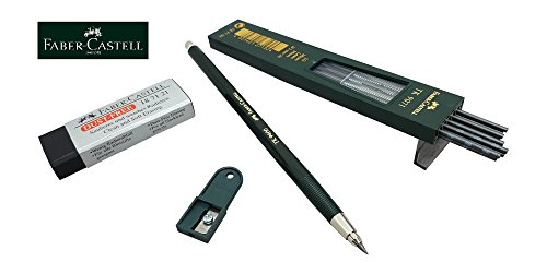 Faber-Castell Mechanical drafting pencil 2.0mm lead holder set (TK9400), 2B leads, sharpener, eraser, 2mm clutch pencil set