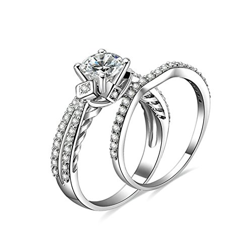 Aokarry 925 Sterling Silver Promise Rings 4-prong Setting Round Cubic Zirconia Ring Set Size 7