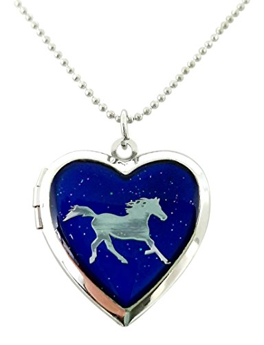 - Cool Jewels® Running Horse on Mood Heart Shaped Locket Pendant Necklace, 16 to 18 Inches