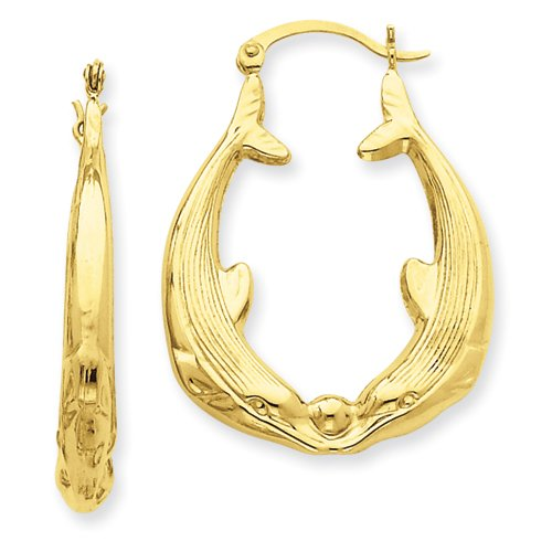 14KT Kissing Dolphin Hoop Earrings