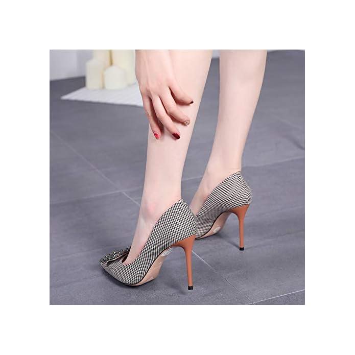 Hgdr Tacchi Alti Per Donna Strass Donna Con Fibbia Quadrata Moda Punta A Primavera Sexy Sottili Scarpe Spillo houndstooth-eu37
