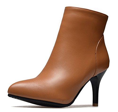 Cheville Aisun Bottines Femme Boots Haut Pointues Low Brun Unie Mode Couleur Talon EvEqdwr7