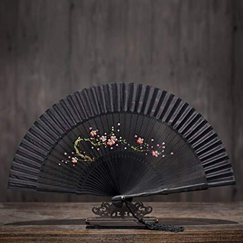 Home Decoration Resin Crafts Ornaments FS Hand-Folding Fan Folding Fan Chinese Style Antique Female Fan Hand-Painted Fan Carved Fan Bone Craft Fan Gift Fan (Color : F)