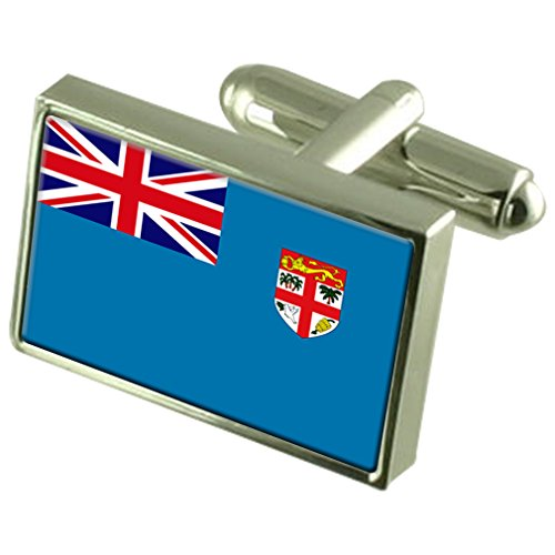 Fiji Sterling Silver Flag Cufflinks in Engraved Personalised Box by Select Gifts