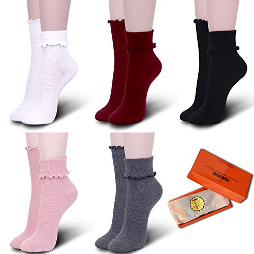 YOUNEEDTHAT 5 Pack Women's Ruffle Frilly Socks Cotton Casual Lace Solid Colors-STYLE1 ()