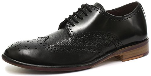 London Brogue Mens Lincoln Derby Bordo Snörning Sko Svart