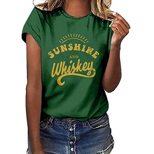 Women T-Shirt Casual Summer Short Sleeve Tee Letter Print Loose Blouse Tops (L, Green)