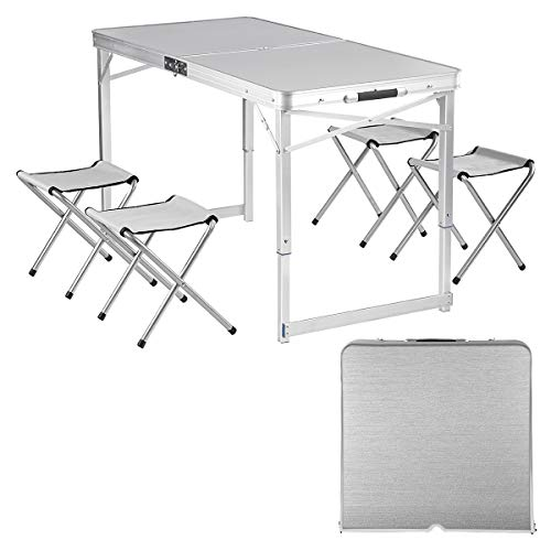 Adalantic Picnic Folding Table,Portable Aluminum Camping Table with 4 Chairs Indoor Outdoor Suitcase Table Game Table
