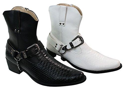 Herrenstiefel Weiß Schwarz HolzbraunSchlangenhaut Imitat Kettenmuster Cowboy Design Lässig Weiß