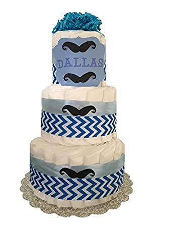3 Tier   Little Man Mustache Diaper Cake With Custom Name/ Baby Shower  Centerpiece /