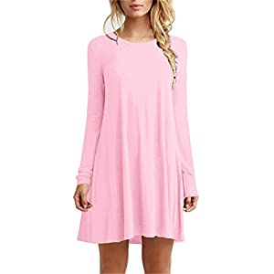 TOPONSKY Women's Casual Tunic Plain Fit Simple T-Shirt Loose Flowy Dress