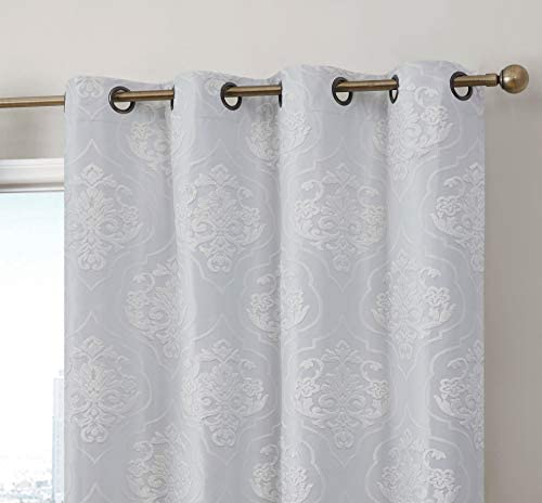 HLC.ME Damask Flocked 100 Complete Blackout Thermal Insulated Window Curtain Grommet Panels – Energy Savings Soundproof – Great for Living Room Bedroom – Set of 2 50 x 96 inches Long, Ivory