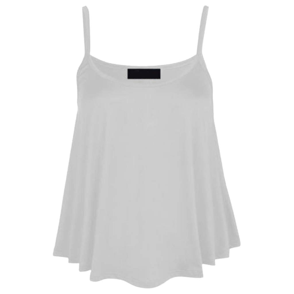 Plain V Neck T Shirts Women, Vintage Tops for Women 1950S,Fashion Womens Solid O-Neck Vest Tank Casual Sleeveless Camis Blouse Top White