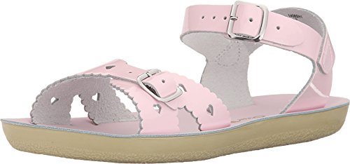 Salt Water Sandals by Hoy Shoe Girls' Sun-San Sweetheart Flat Sandal, Shiny Pink, 8 M US Toddler
