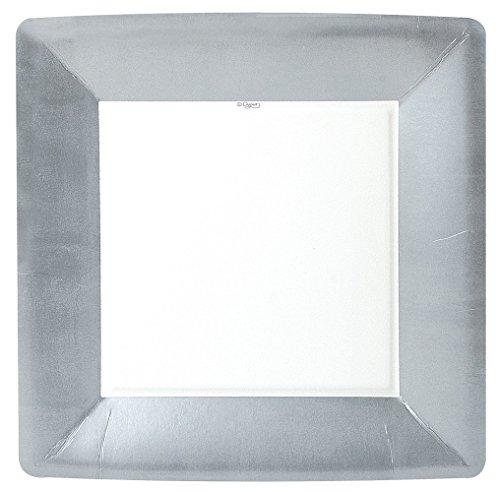 CASPARI Plate Square Silver Leaf, 8 CT
